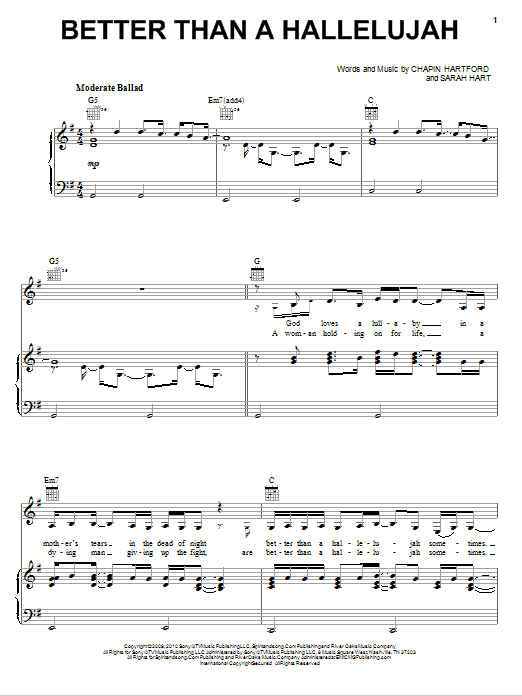 Better Than A Hallelujah sheet music for voice, piano or guitar by Sarah Hart