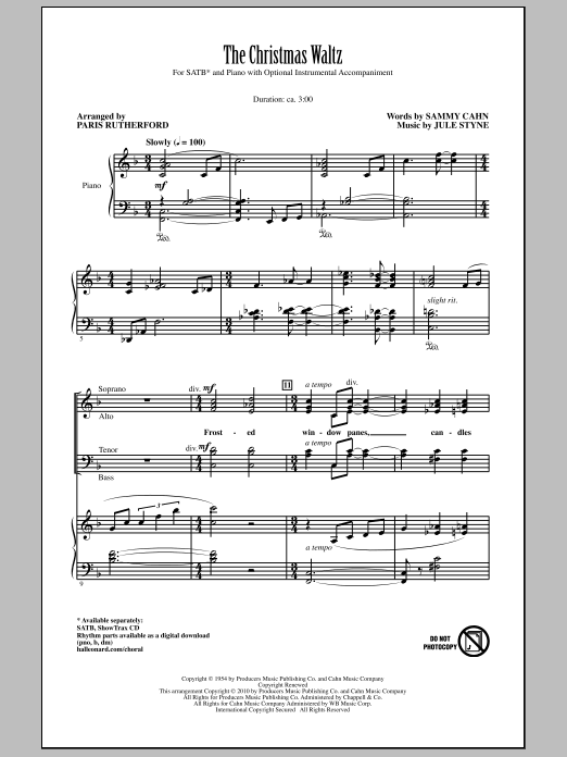 The Christmas Waltz sheet music for choir and piano (SATB) by Jule Styne