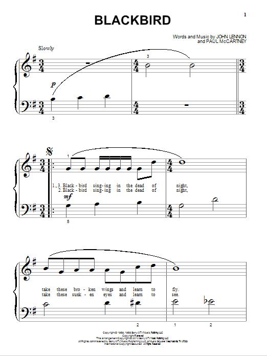 Partition piano Blackbird de The Beatles - Piano Facile