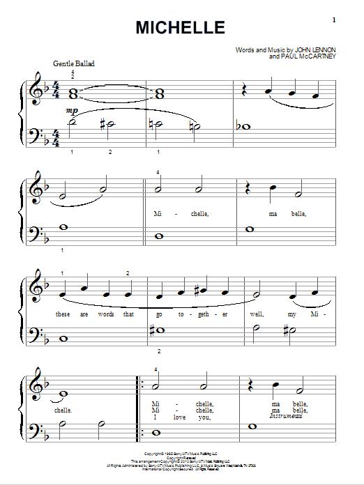 Partition piano Michelle de The Beatles - Piano Facile