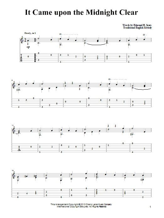 Tablature guitare It Came Upon The Midnight Clear de Edmund Hamilton Sears - Tablature Guitare
