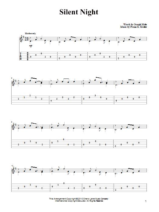 Tablature guitare Silent Night de Joseph Mohr - Tablature Guitare