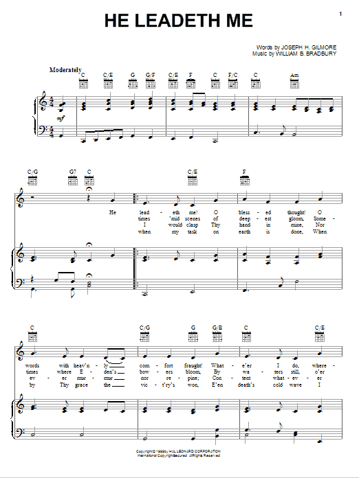 He Leadeth Me sheet music for voice, piano or guitar by Joseph H. Gilmore