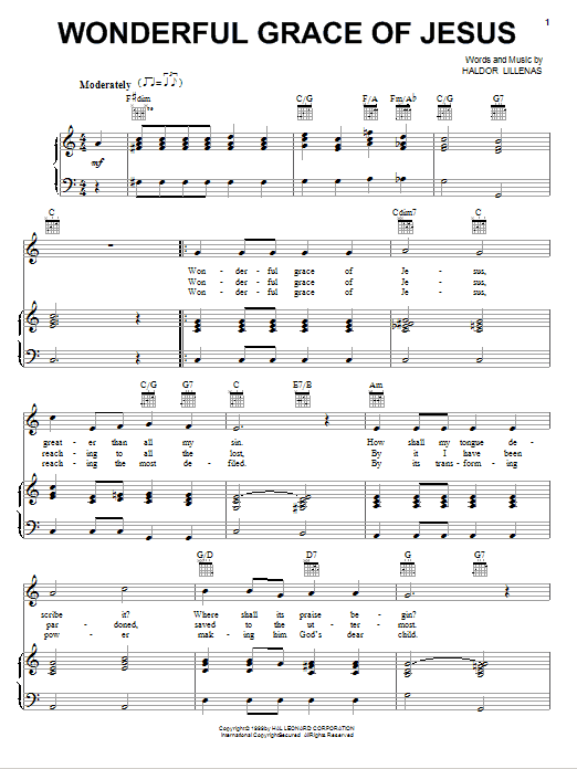 Wonderful Grace Of Jesus sheet music for voice, piano or guitar by Haldor Lillenas