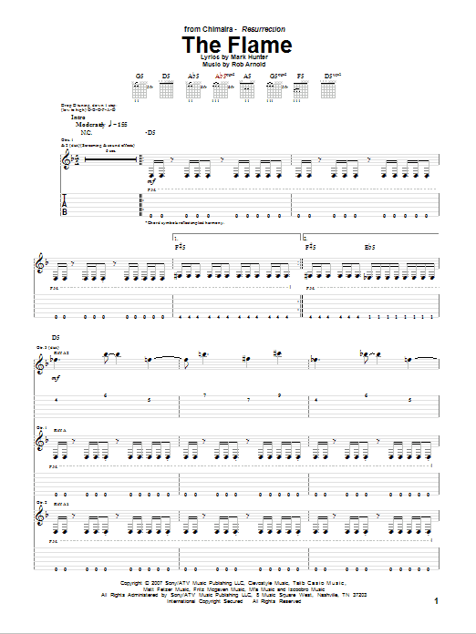 The Flame sheet music for guitar solo (tablature) by Rob Arnold