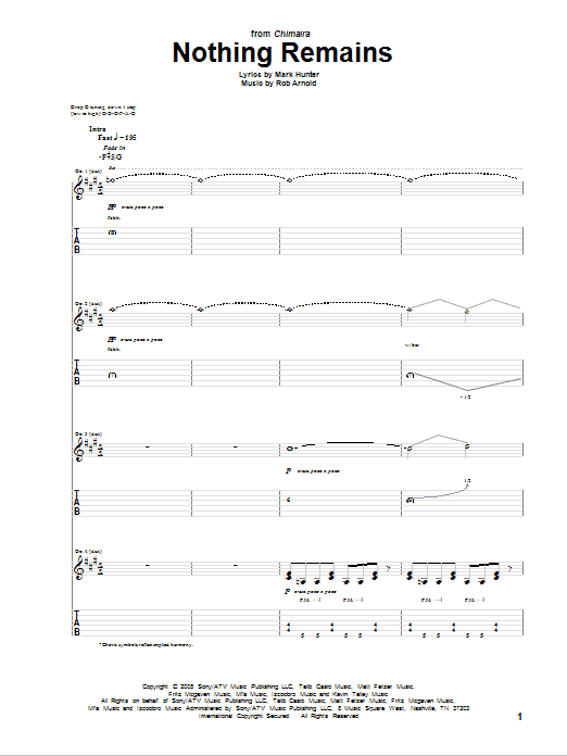 Nothing Remains sheet music for guitar solo (tablature) by Rob Arnold