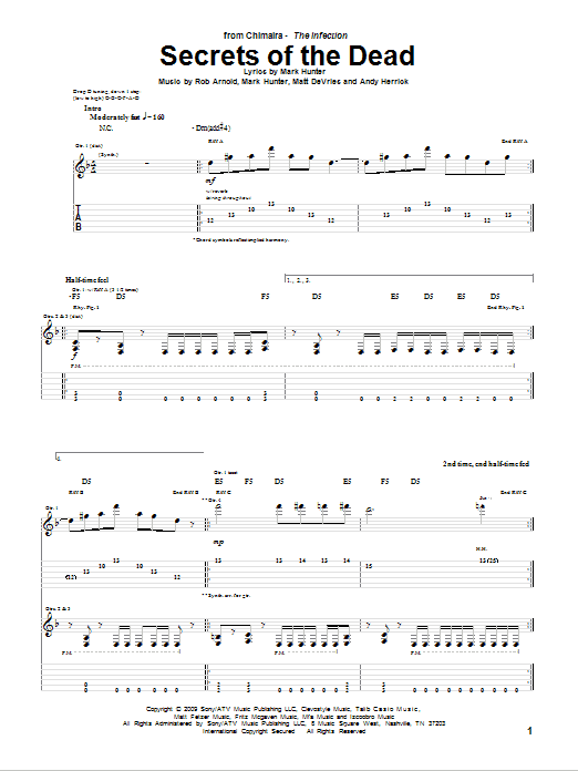 Tablature guitare Secrets Of The Dead de Chimaira - Tablature Guitare