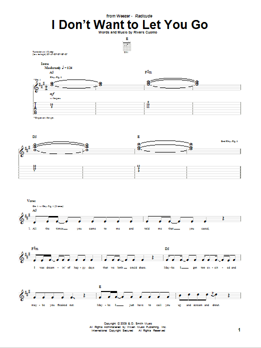 Tablature guitare I Don't Want To Let You Go de Weezer - Tablature Guitare