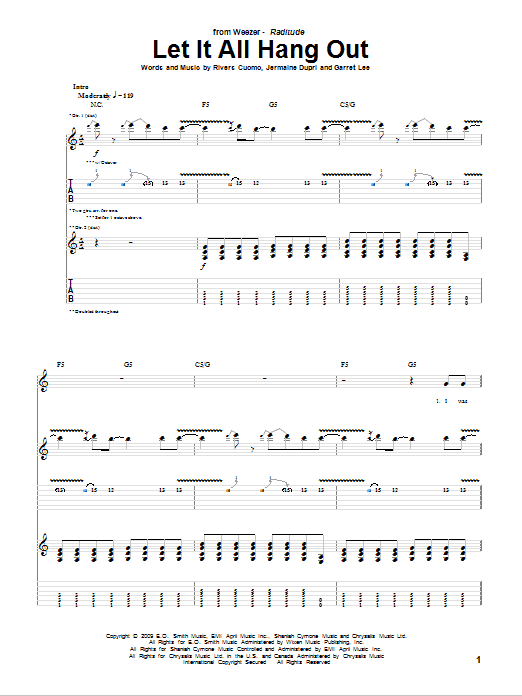 Let It All Hang Out sheet music for guitar solo (tablature) by Rivers Cuomo