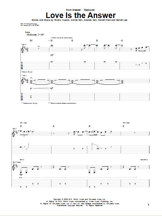 Tablature guitare Love Is The Answer de Weezer - Tablature Guitare
