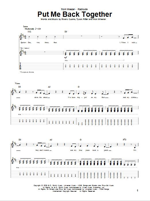 Tablature guitare Put Me Back Together de Weezer - Tablature Guitare