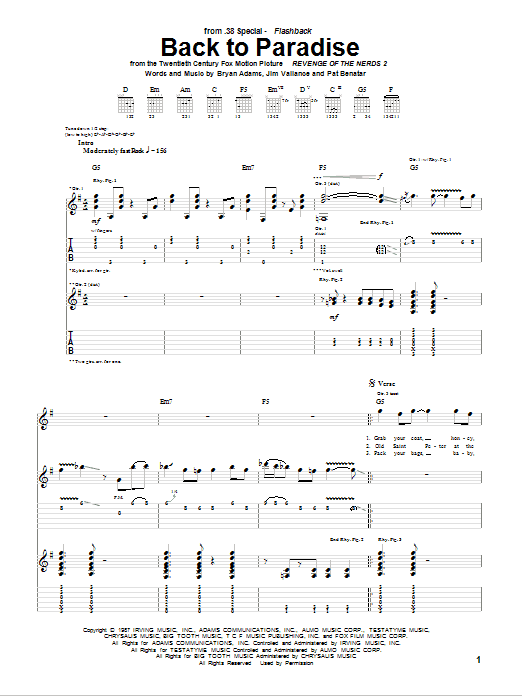 Back To Paradise sheet music for guitar solo (tablature) by Pat Benatar