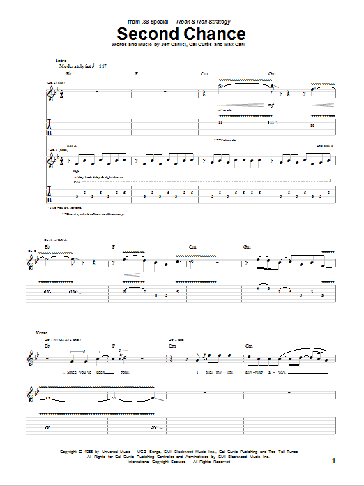 Tablature guitare Second Chance de 38 Special - Tablature Guitare