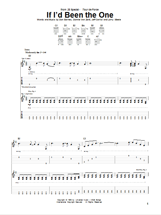 Tablature guitare If I'd Been The One de 38 Special - Tablature Guitare