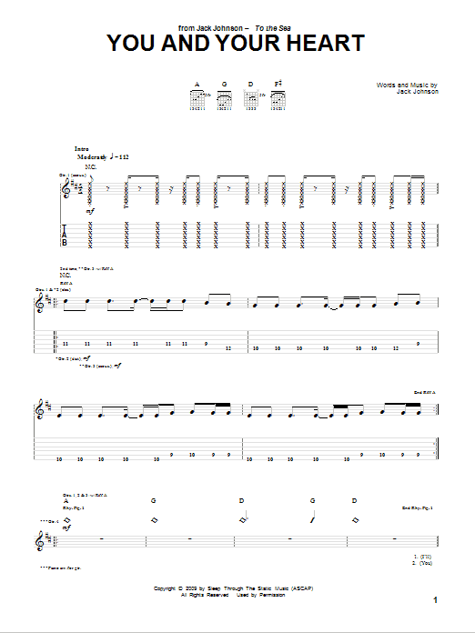 Tablature guitare You And Your Heart de Jack Johnson - Tablature Guitare