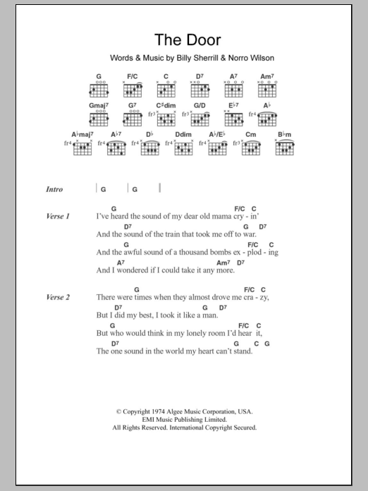 The Door sheet music for guitar solo (chords, lyrics, melody) by Norro Wilson