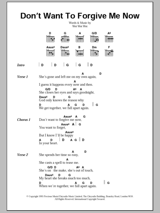 Sheet Music Digital Files To Print - Licensed Wet Wet Wet Digital ...