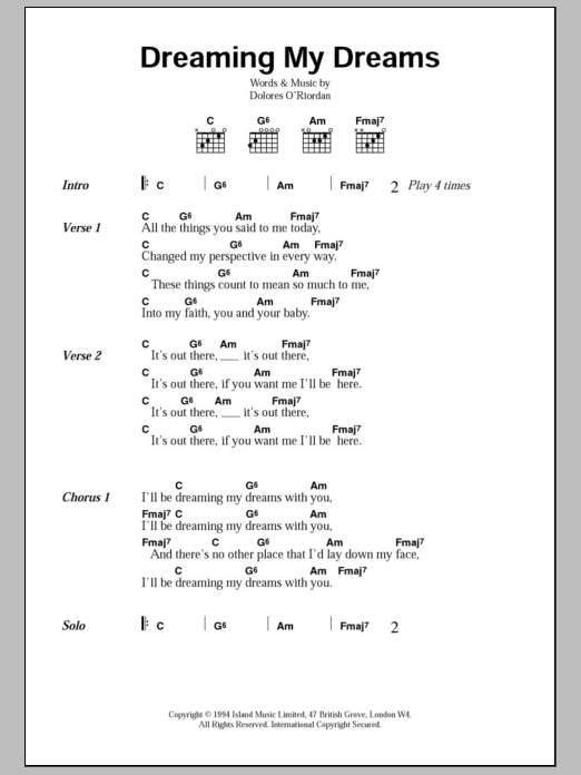Dreaming My Dreams by The Cranberries - Guitar Chords/Lyrics - Guitar Instructor