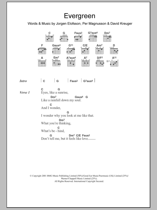 Evergreen sheet music for guitar solo (chords, lyrics, melody) by Per Magnusson