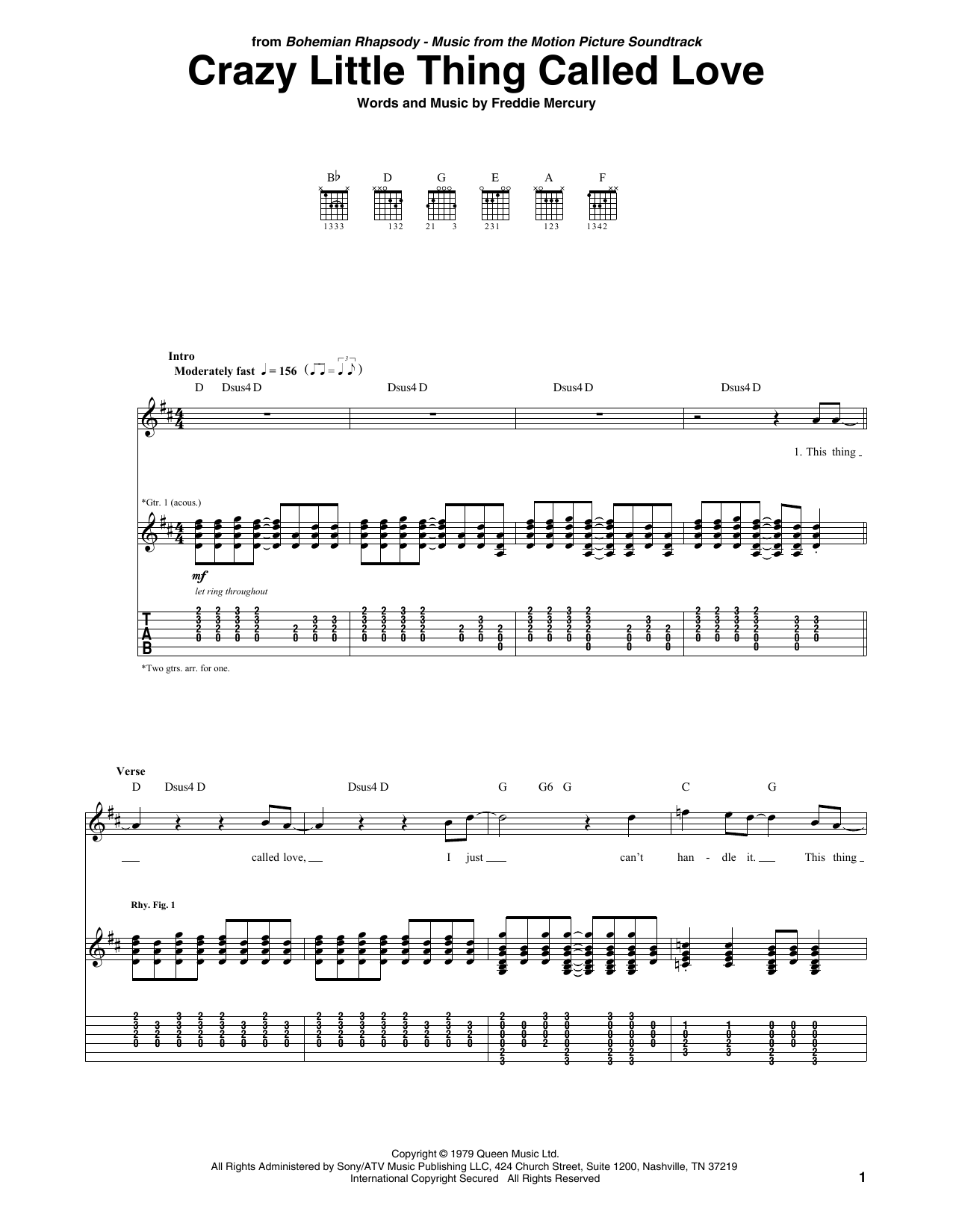 Tablature guitare Crazy Little Thing Called Love de Queen - Tablature Guitare