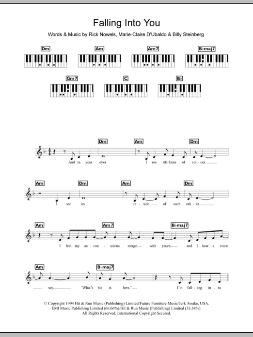 Falling Into You sheet music for piano solo (chords, lyrics, melody) by Rick Nowels