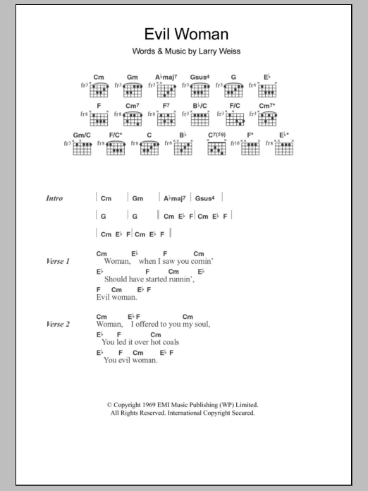 Evil Woman sheet music for guitar solo (chords, lyrics, melody) by Larry Weiss