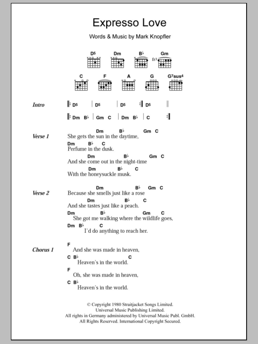 Expresso Love sheet music for guitar solo (chords, lyrics, melody) by Mark Knopfler