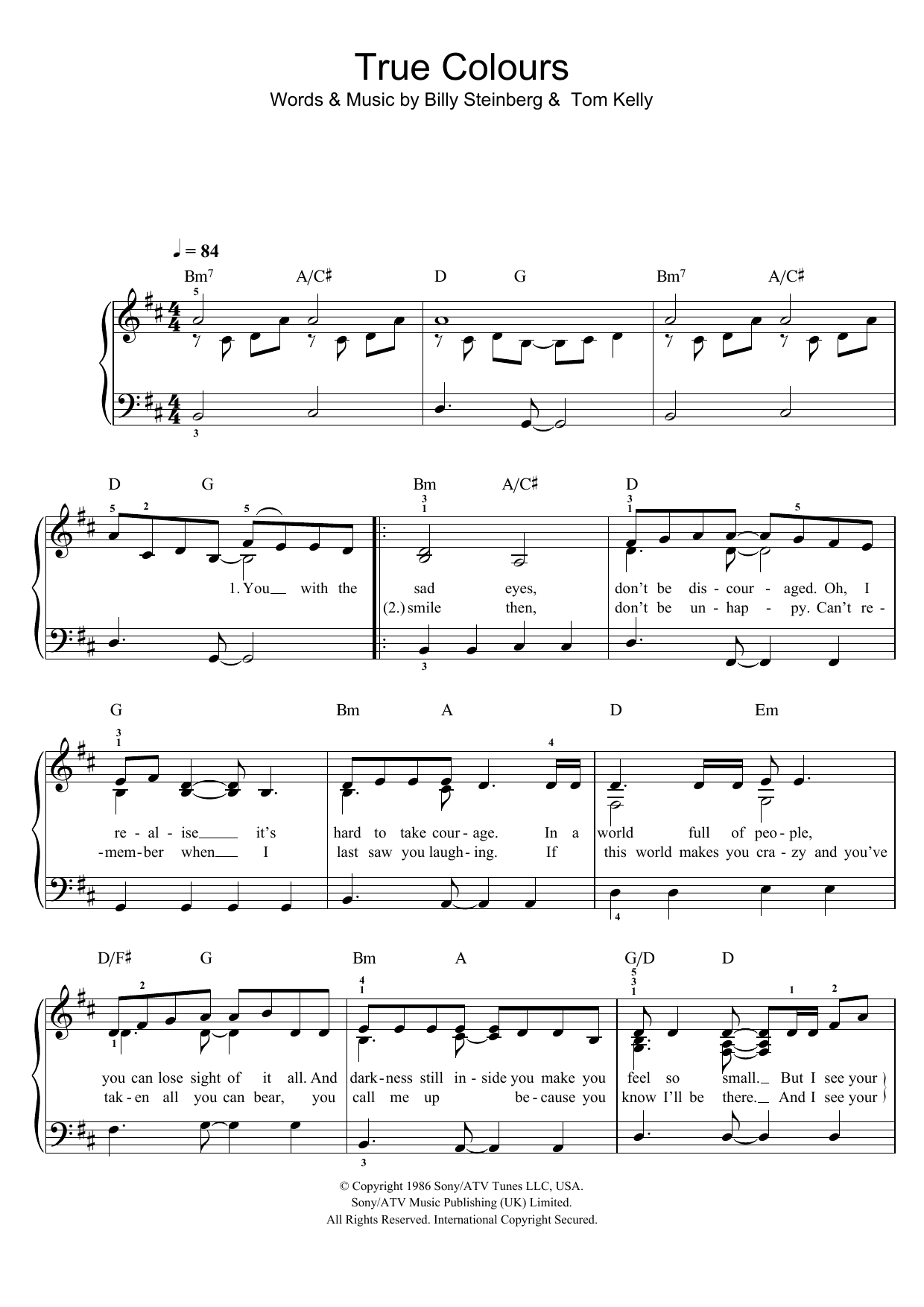 True Colors sheet music for piano solo (chords) by Tom Kelly