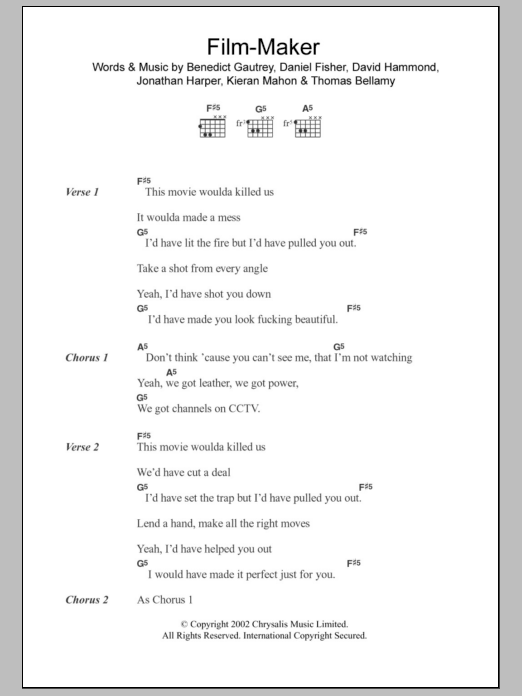 Film-Maker sheet music for guitar solo (chords, lyrics, melody) by Kieran Mahon