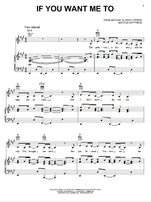 If You Want Me To sheet music for voice, piano or guitar by Kyle Matthews