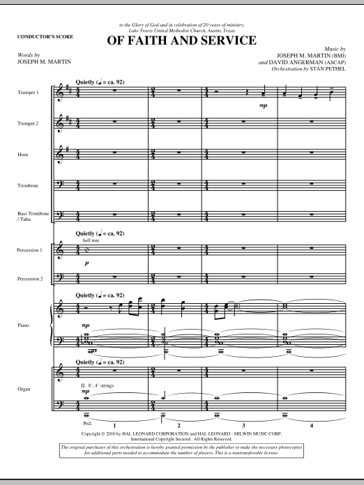 Of Faith And Service (COMPLETE) sheet music for orchestra by David Angerman