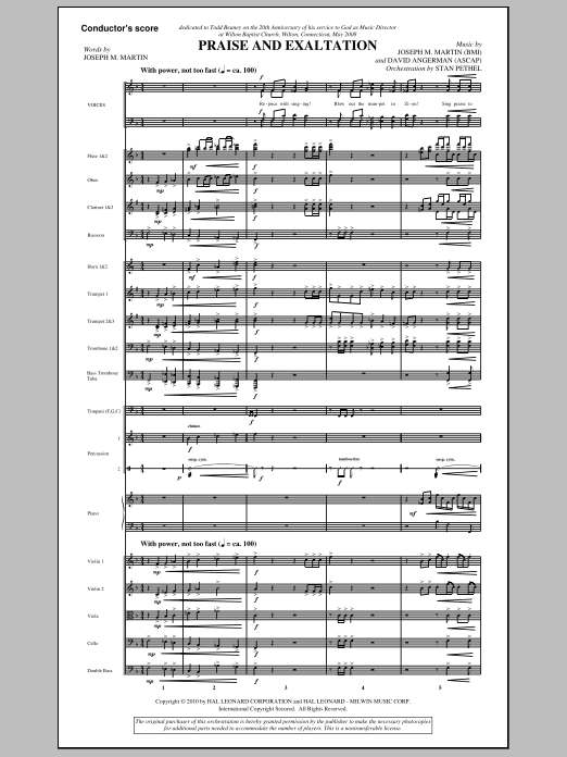 Praise And Exaltation (COMPLETE) sheet music for orchestra/band (Orchestra) by Joseph M. Martin