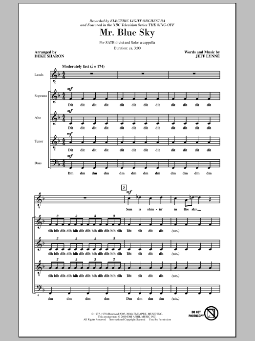 Sheet Music Digital Files To Print - Licensed Electric Light ...