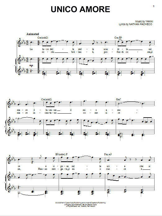Unico Amore sheet music for voice, piano or guitar by Nathan Pacheco