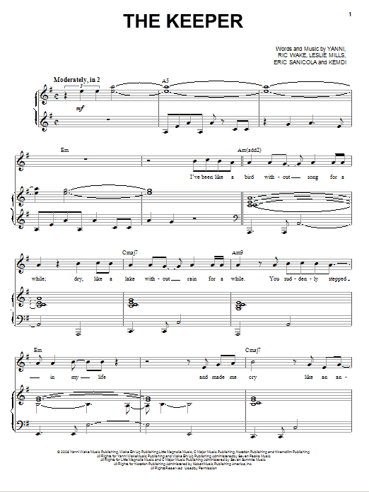 The Keeper sheet music for voice, piano or guitar by Ric Wake
