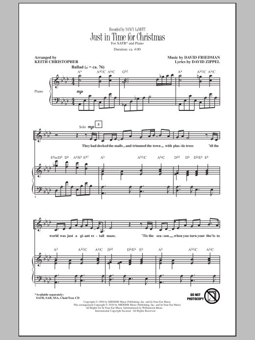 Just In Time For Christmas sheet music for choir and piano (SATB) by David Friedman