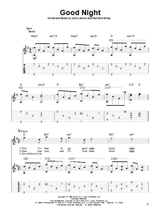 Tablature guitare Good Night de The Beatles - Tablature Guitare