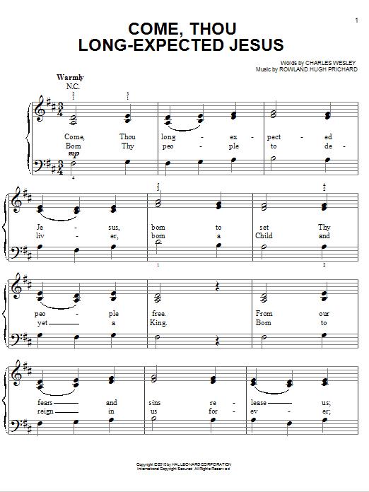 Partition piano Come, Thou Long-Expected Jesus de Chris Tomlin - Piano Facile