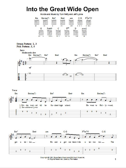 Tablature guitare Into The Great Wide Open de Tom Petty - Tablature guitare facile