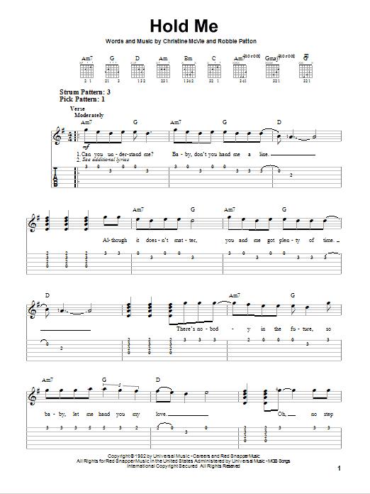 Tablature guitare Hold Me de Fleetwood Mac - Tablature guitare facile