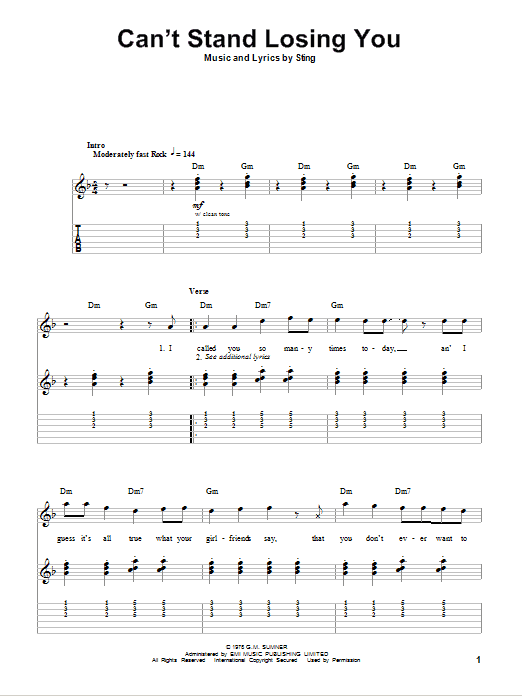 Tablature guitare Can't Stand Losing You de The Police - Tablature Guitare