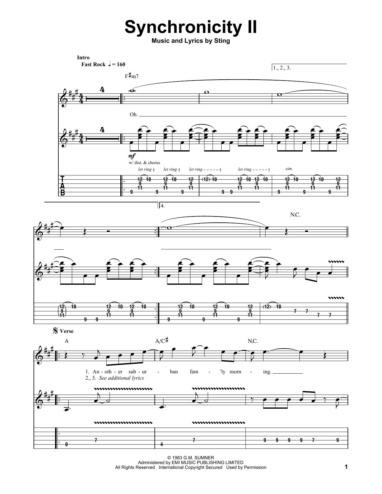 Tablature guitare Synchronicity II de The Police - Tablature Guitare