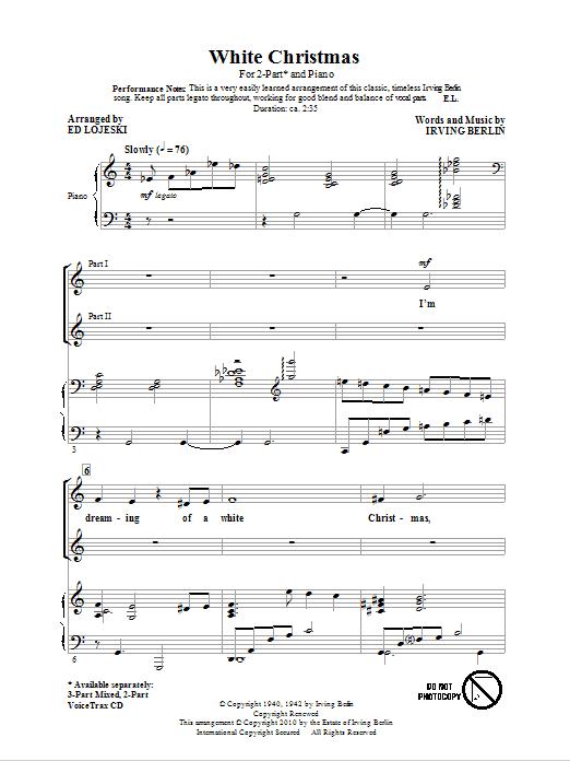 Partition chorale White Christmas de Ed Lojeski - 2 voix