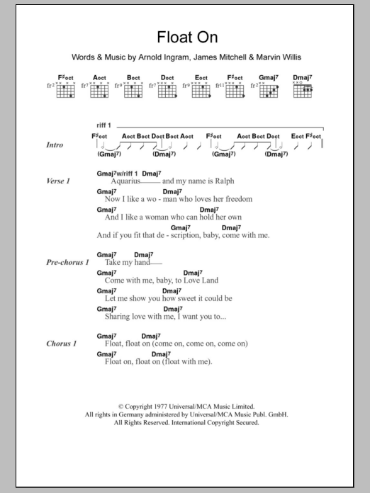 Float On sheet music for guitar solo (chords, lyrics, melody) by Marvin Willis