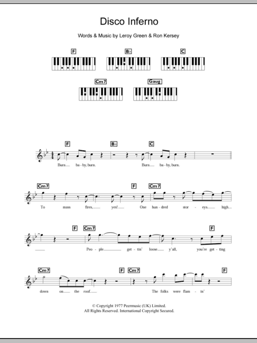 Disco Inferno sheet music for piano solo (chords, lyrics, melody) by Ron Kersey
