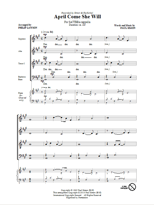 Partition chorale April Come She Will de Simon & Garfunkel - SATB