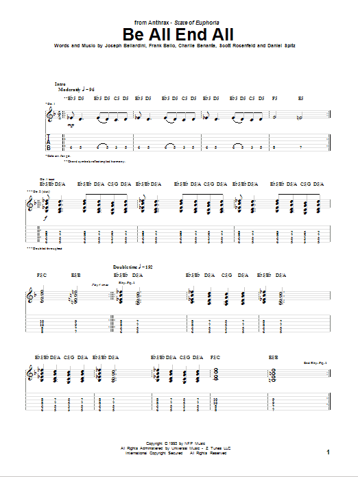 Tablature guitare Be All End All de Anthrax - Tablature Guitare