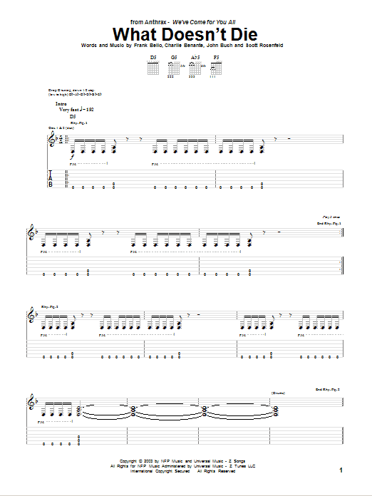 Tablature guitare What Doesn't Die de Anthrax - Tablature Guitare