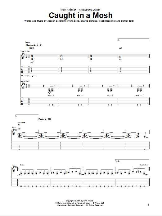 Caught In A Mosh sheet music for guitar solo (tablature) by Scott Rosenfeld