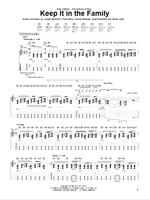 Tablature guitare Keep It In The Family de Anthrax - Tablature Guitare